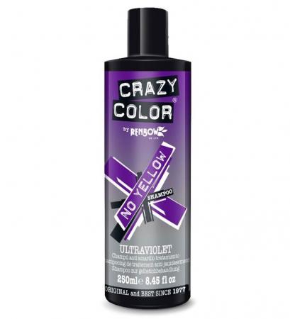 Sampon tratament nuantator, Ultraviolet, CRAZY COLOR No Yellow Shampoo, pentru par blond sau gri, 250 ml