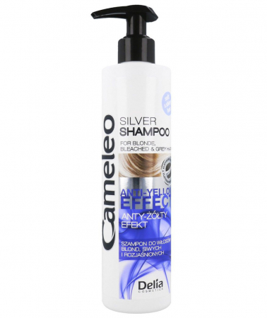 Sampon argintiu Delia Cameleo pentru par blond si gri, cu efect anti-galben, 250 ml