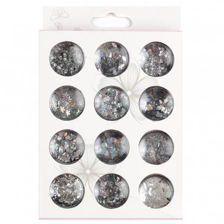 Paiete pentru unghii, set 12 bucati, 03 Silver Stories