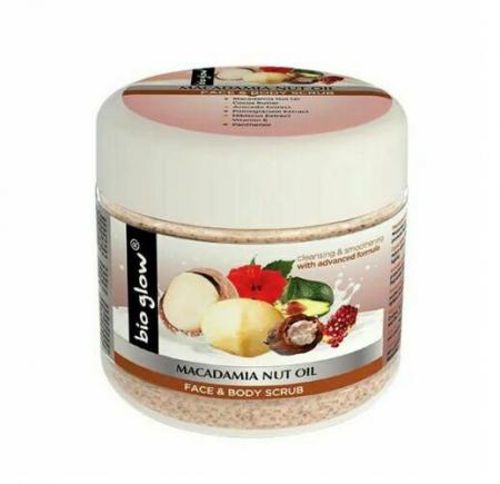 Scrub Bio Glow pentru ten si corp cu Ulei de Nuci de Macadamia, 300 ml