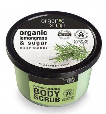 Scrub de corp delicios cu Lemongrass Provence si Zahar, Organic Shop Body Scrub, Ingrediente 99.54% Naturale, 250 ml