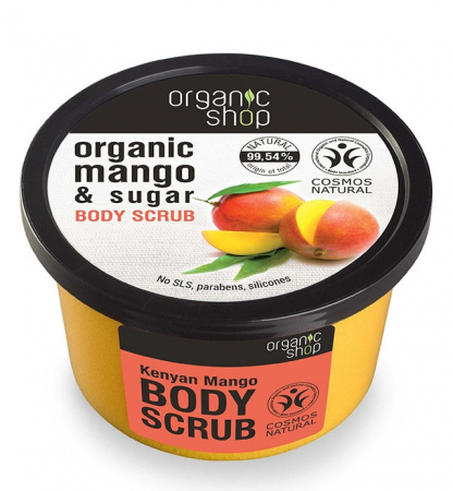 Scrub de corp delicios cu Mango Kenyan si Zahar, Organic Shop Body Scrub, Ingrediente 99.54% Naturale, 250 ml