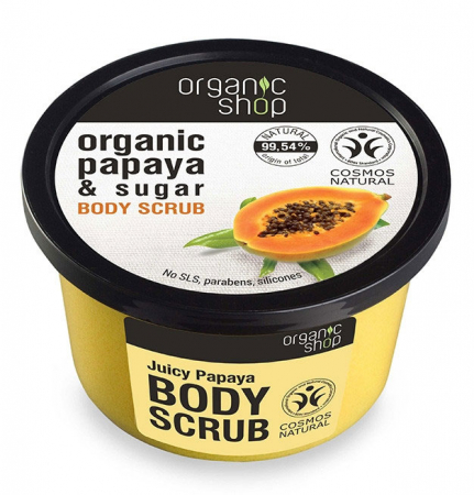 Scrub de corp delicios cu Papaya si Zahar, Organic Shop Body Scrub, Ingrediente 99.54% Naturale, 250 ml