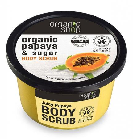 Scrub de corp delicios cu Papaya si Zahar, Organic Shop Body Scrub, Ingrediente 99.54% Naturale, 250 ml