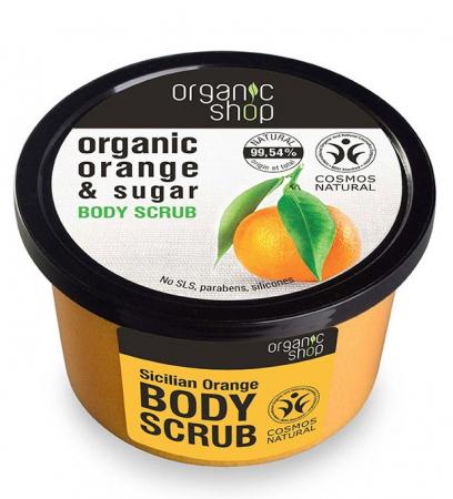 Scrub de corp delicios cu Portocale Siciliene si Zahar, efect de fermitate, Organic Shop Body Scrub, Ingrediente 99.54% Naturale, 250 ml