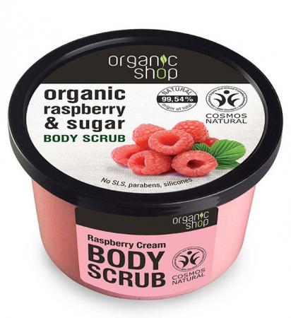 Scrub de corp delicios cu Zmeura si Zahar, Organic Shop Body Scrub, Ingrediente 99.54% Naturale, 250 ml
