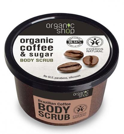 Scrub de corp delicios cu Cafea Braziliana si Zahar, efect energizant, Organic Shop Body Scrub, Ingrediente 99.54% Naturale, 250 ml