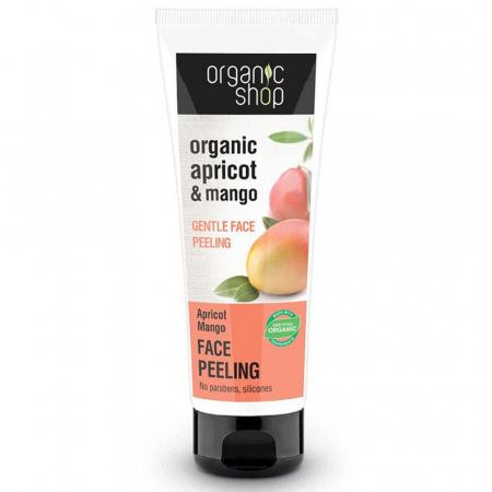 Peeling organic delicat pentru curatarea tenului sensibil cu mango si caise Organic Shop Gentle Face Peeling, 75 ml