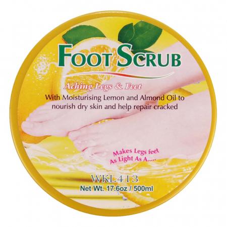 Scrub pentru picioare si talpi cu Lamaie si Ulei de Migdale, Ingrediente 100% Naturale, Wokali Foot Scrub, 500 g1