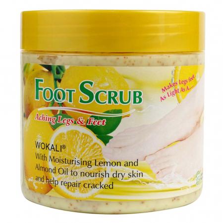 Scrub pentru picioare si talpi cu Lamaie si Ulei de Migdale, Ingrediente 100% Naturale, Wokali Foot Scrub, 500 g