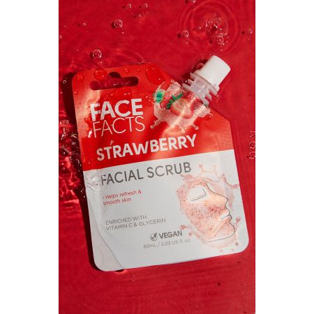 Scrub Facial cu Capsuni FACE FACTS imbogatit cu Vitamina C si Glicerina, 60 ml1