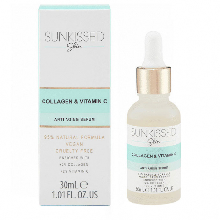 Ser antirid cu Colagen si Vitamina C, SUNKISSED Anti-aging Serum, 95% Ingrediente Naturale, 30 ml