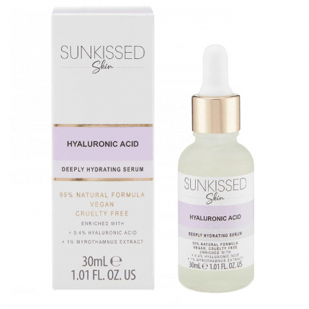 Ser cu Acid Hyaluronic, SUNKISSED Deeply Hydrating Serum, 95% Ingrediente Naturale, 30 ml