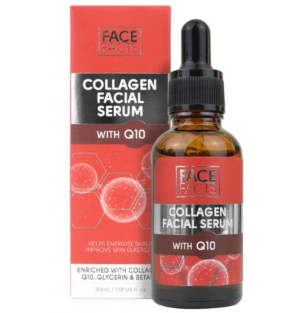 Ser facial cu Colagen si Coenzima Q10, FACE FACTS, Anti-imbatranire, Anti umflaturi, 30 ml