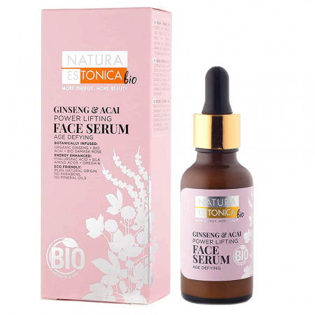 Ser facial de fermitate Natura Estonica Ginseng & Acai Face Serum, 30 ml