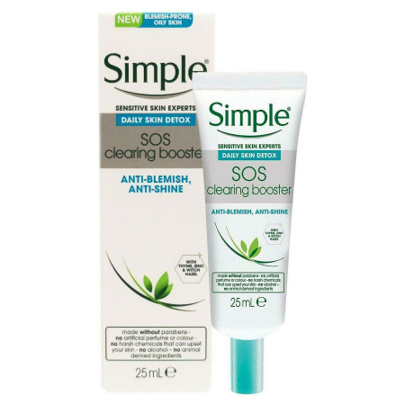 Crema anti-roseata, anti-pete, anti-stralucire pentru ten gras Simple Daily Skin Detox SOS Clearing Booster, 25 ml