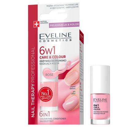 Ser tratament profesional pentru unghii EVELINE 6 in 1 Colour Nail Conditioner, nuanta Rose, 5 ml