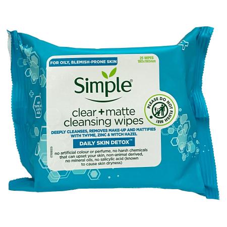 Servetele demachiante pentru ten gras/acneic Simple Clear + Matte Cleansing cu turmeric si zinc, 25 bucati