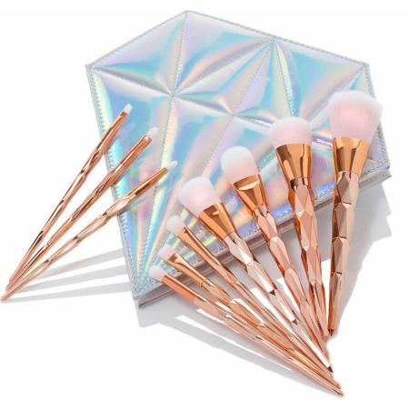 Trusa Profesionala Cu 10 Pensule De Machiaj Unicorn Diamond - Rose Gold1