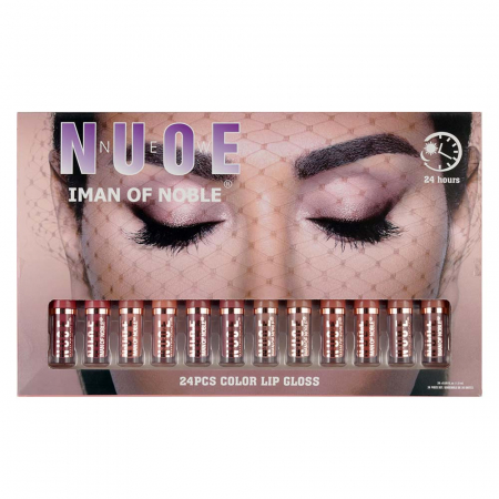 Set 24 Rujuri Lichide Mate NUDE, Rezistente la Transfer 24H, IMAN OF NOBLE Lip Set, 24 x 1.6 ml