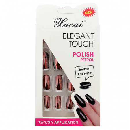 Set 12 Unghii False cu adeziv inclus Elegant Touch, Polish Petrol, 02 Glossy Queen