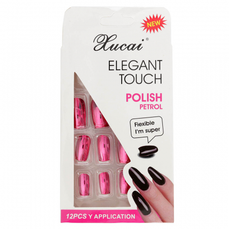 Set 12 Unghii False cu adeziv inclus Elegant Touch, Polish Petrol, 05 Glossy Candy
