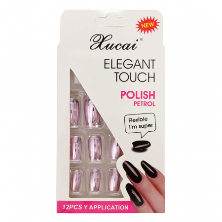 Set 12 Unghii False cu adeziv inclus Elegant Touch, Polish Petrol, 07 Glossy Lila