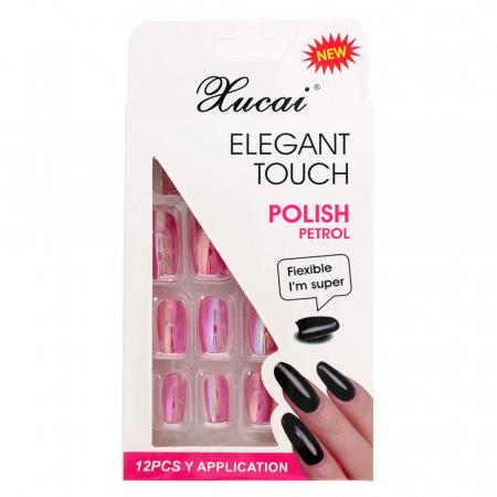 Set 12 Unghii False cu adeziv inclus Elegant Touch, Polish Petrol, 08 Glossy Pink