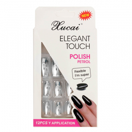 Set 12 Unghii False cu adeziv inclus Elegant Touch, Polish Petrol, 09 Glossy Silver
