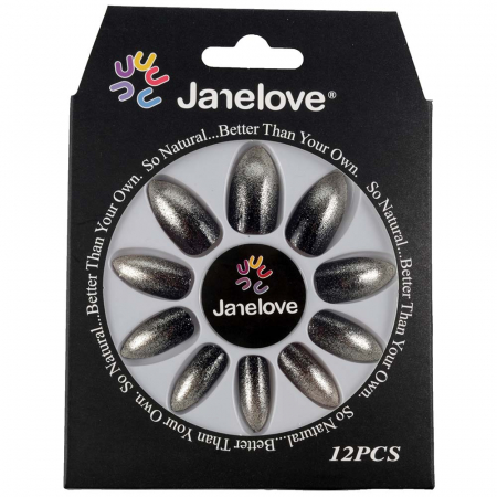 Set 12 Unghii False Janelove, 13 Black Silver