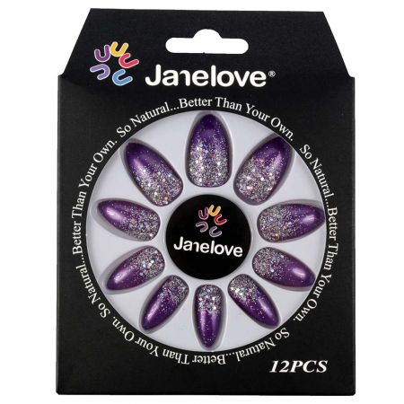 Set 12 Unghii False Janelove, 24 Silver Plum