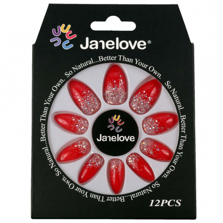 Set 12 Unghii False Janelove, 25 Cherry Red