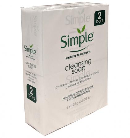 Set 2 sapunuri anti-bacteriene pentru piele sensibila Simple cu extract de grapefruit si pro-vitamina B5, 2 x 125 g
