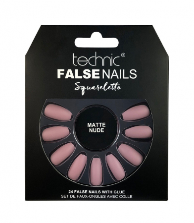 Set 24 Unghii False cu adeziv inclus Technic False Nails, Squareletto, Matte Nude