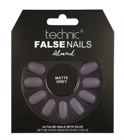 Set 24 Unghii False cu adeziv inclus Technic False Nails, Almond, Matte Grey