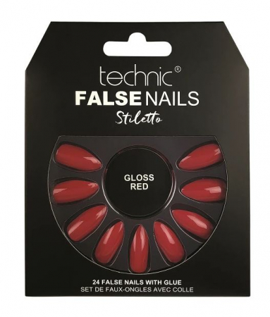 Set 24 Unghii False cu adeziv inclus Technic False Nails, Stiletto, Gloss Red