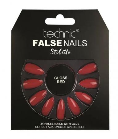 Set 24 Unghii False cu adeziv inclus Technic False Nails, Stiletto, Gloss Red