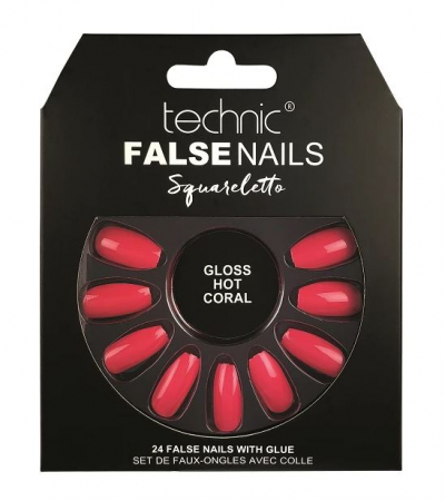 Set 24 Unghii False cu adeziv inclus Technic False Nails, Squareletto, Gloss Hot Coral