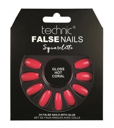 Set 24 Unghii False cu adeziv inclus Technic False Nails, Squareletto, Gloss Hot Coral