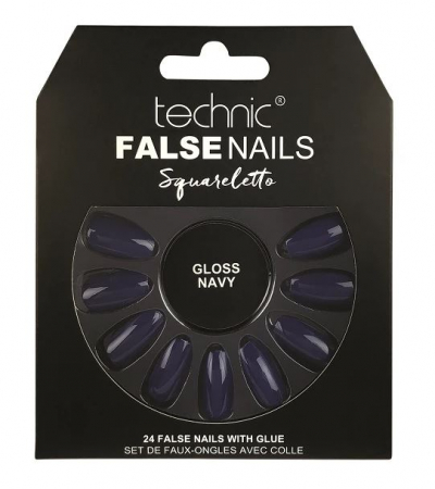 Set 24 Unghii False cu adeziv inclus Technic False Nails, Squareletto, Gloss Navy