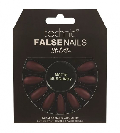Set 24 Unghii False cu adeziv inclus Technic False Nails, Stiletto, Matte Burgundy