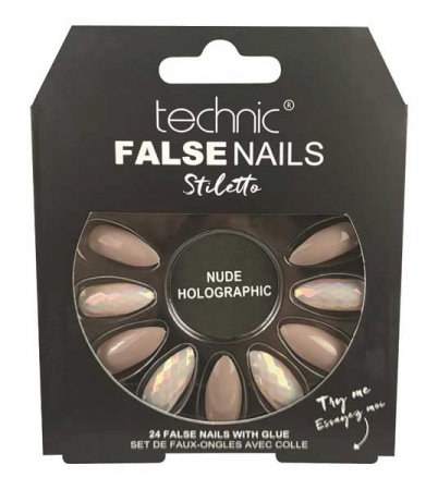 Set 24 Unghii False cu adeziv inclus Technic False Nails, Stiletto, Nude Holographic