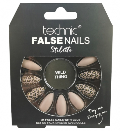 Set 24 Unghii False cu adeziv inclus Technic False Nails, Stiletto, Wild Thing