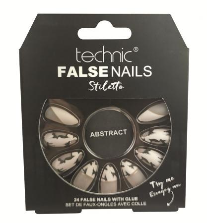 Set 24 Unghii False cu adeziv inclus Technic False Nails, Stiletto, Abstract