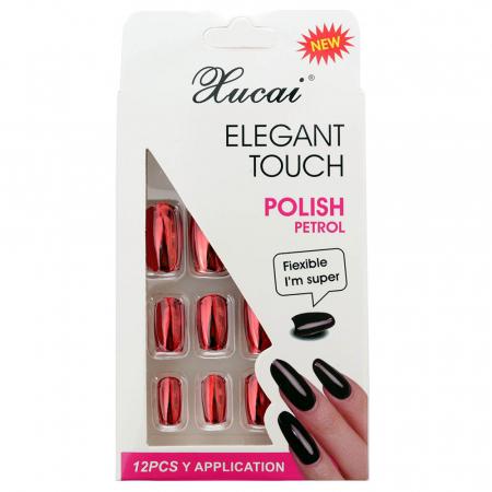 Set 12 Unghii False cu adeziv inclus Elegant Touch, Polish Petrol, 01 Glossy Red