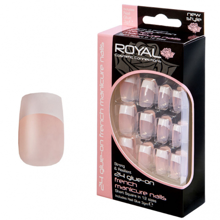 Set 24 Unghii False ROYAL Glue-On Nail French Manicure Nails, Adeziv Inclus 3 g