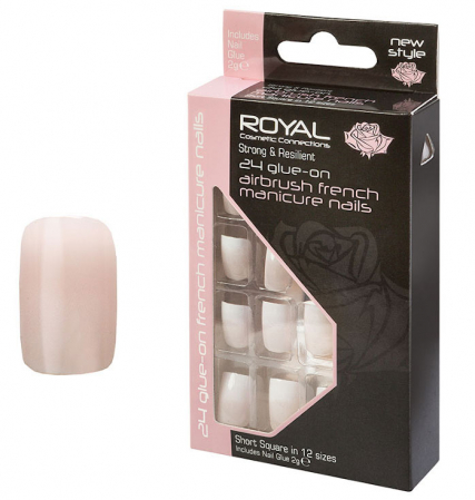 Set 24 Unghii False ROYAL Glue-On Nail Airbrush French Manicure Nails, Adeziv Inclus 2 g