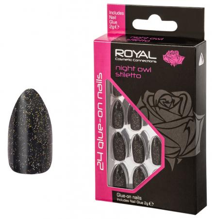 Set 24 Unghii False ROYAL Glue-On Nail Tips, Night Owl Stiletto, Adeziv Inclus