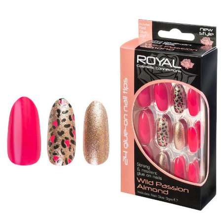 Set 24 Unghii False ROYAL Glue-On Nail Tips, Wild Passion Almond, Adeziv Inclus 3 g