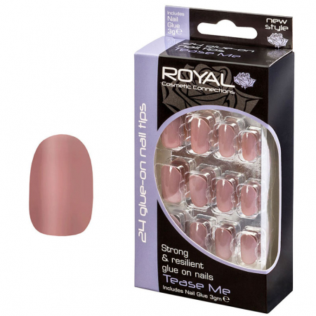 Set 24 Unghii False ROYAL Glue-On Nail Tips, Tease Me, Adeziv Inclus 3 g
